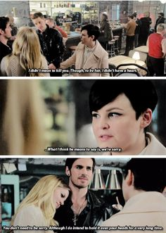 *Charming is about to object to Hook taking Emma out on a date* Hook: Hey remember that time you killed me? *pointed sexy smirky face*