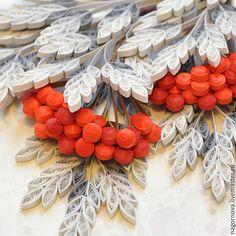 Купить Снежная рябина. Квиллинг - серебряный, Квиллинг, квиллинг картина, Рябина, снежный, подарок 2016