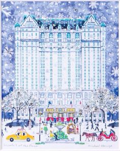 The Plaza Hotel, NYC - by Michael Storrings. The Plaza Boutique. Stop by to discover our Christmas ornaments, Michael Storrings original art, and other holiday gifts. New York Noel, New York Art, New York Christmas, Christmas Love, Merry Christmas, Christmas Ornaments, The Plaza Hotel Nyc, New York Illustration, Manhattan Hotels