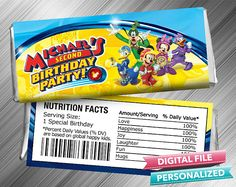 Mickey Roadster Racers Birthday Candy Bar Wrapper