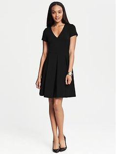 Classic black dress - and it comes in tall sizes! Ponte Pleated Fit-and-Flare Dress from #bananarepublic