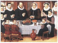A Feast For The Eyes.  Grace before the Meal, by Anthonius Claessins, c. 1538-1613
