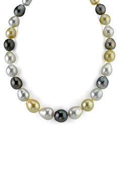 14K White Gold 11-13mm Multicolor South Sea Baroque Pearl Necklace