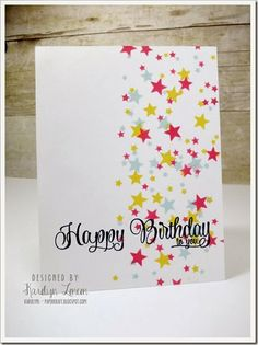 Used a Heidi Swapp stencil with scattered stars, moved it around on the card face to create the look of falling stars...