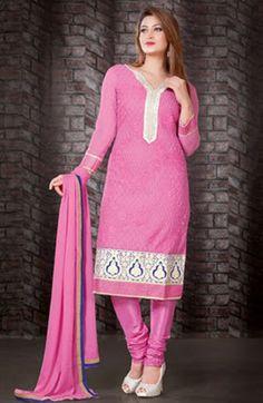 USD 53.61 Pink Faux Georgette Party Wear Salwar Kameez    36121