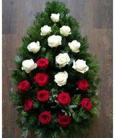 Coroana funerara cu trandafiri Funeral Bouquet, Christmas Wreaths, Floral Wreath, Holiday Decor, Floral Arrangements, Floral Crown, Flower Crowns, Flower Band, Garland