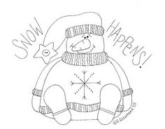 Check out this Snow Happens snowman template. Snowman looks stunned and is sitting down. Black and white outline of this funky snowman. Wool Applique, Embroidery Applique, Cross Stitch Embroidery, Vintage Embroidery, Primitive Stitchery, Primitive Crafts, Primitive Embroidery, Country Primitive, Snowman