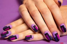 Glamorous Color Blocks Nail Art .