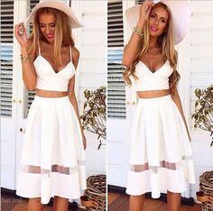Lady Sexy V Neck Lace Crop Bustier Top Bralet + High Waist Long Pleated Skirts R #Bellyanna #EmpireWaist #Clubwear