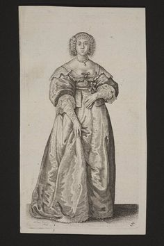 A court lady, Wenceslaus Hollar, etching and engraving on paper, 1640, English.