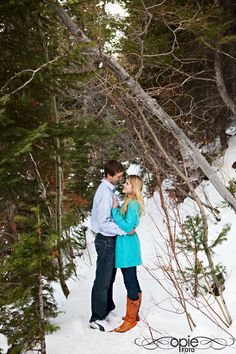 park city utah engagements photography snow winter pine trees