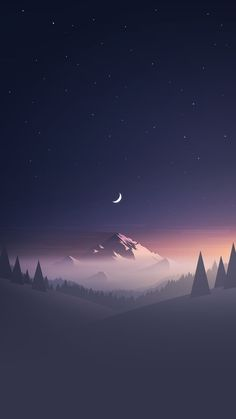 Stars And Moon Winter Mountain Landscape #iPhone #6 #wallpaper #LandscapeWallpaper