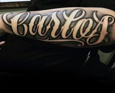 Last Name Tattoos, Forearm Name Tattoos, Tattoos With Kids Names, Dad Tattoos, Best Sleeve Tattoos, Tattoos For Guys, Tattoo Lettering Design, Name Tattoo Designs, Negative Space Tattoo