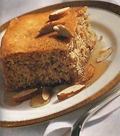 Lemon-Honey Almond Cake - The cake has an appealing, somewhat coarse texture; drizzled with a honey-lemon syrup, the dessert is reminiscent of baklava. Both matzo meal and the more finely ground matzo cake meal are used here. Sweet with honey and fresh lemon juice in the syrup.