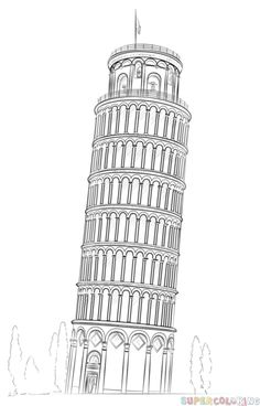 How to draw the leaning tower of Pisa step by step. Drawing tutorials for kids and beginners.