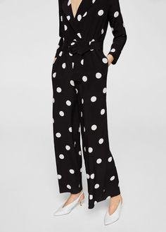 Polka-dot long jumpsuit - Women | MANGO USA