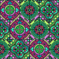 COLORFUL AZULEJOS STYLE TILES GREEN BURGUNDY fabric by paysmage on Spoonflower - custom fabric