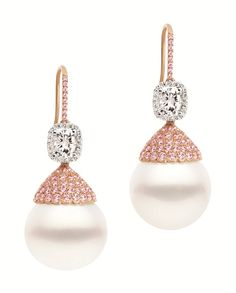 Argyle Pink Diamond and pearl earrings by Kailis ~ Colette Le Mason @}-,-;---