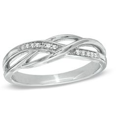 Diamond Accent Split Shank Band in Sterling Silver - I'm not usually impressed by jewelry, but I love this; and it's CHEAP.