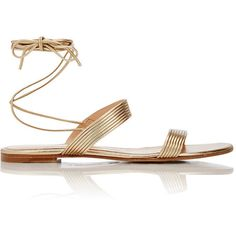 Gianvito Rossi Women's Double-Band Ankle-Tie Sandals ($675) ❤ liked on Polyvore featuring shoes, sandals, flat sandals, gianvito rossi, colorless, leather sole sandals, metallic flat sandals, leather sole shoes, leather flats and ankle strap sandals