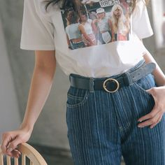 Women Ladies Girls Retro Gold Round Ring Buckle Waist Belt Jeans Waistband