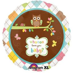 "baby girl baby shower!  Amazon.com: Whoooo Loves You Baby? Owl Butterfly 18"" Balloon Mylar: Health & Personal Care"