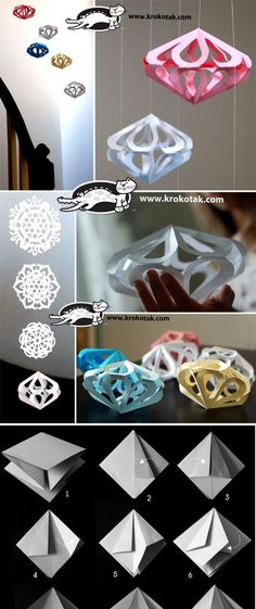 Paper diamonds for decoration Going to try this!