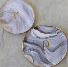 Personalized Marbled Grey and White clay ring dish with Gold trim by EmmaandJames on Etsy