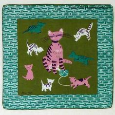 Tammis Keefe - Cat Family handkercheif, Teal
