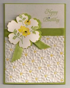 Pretty Flower Embossed Birthday Card...