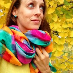 Feeling very matchy-matchy with my hand dyed silk Solstice scarf and the beautiful fall colors in Richmond VA today What's your favorite fall accessory this year?