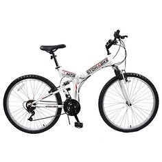 """Stowabike 26\"""" MTB V2 Folding Dual Suspension 18 Speed Gears Mountain Bike White -- Click on the image for additional details."""