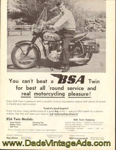 1959 Vintage BSA Motorcycle Ad – You can't beat a BSA Twin! $13.99