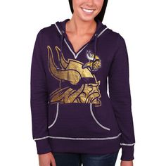 Women's Minnesota Vikings Majestic Purple Cross Block Pullover Hoodie