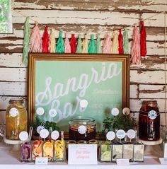 Sangria bar for the wedding / http://www.himisspuff.com/colorful-mexican-festive-wedding-ideas/9/