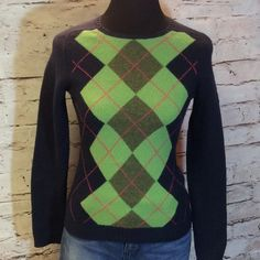 WOOL BLEND ARGYLE SWEATER BY J. CREW Gently used sweater with argyle print in Navy, green and Pink.   SB-2 J. Crew Sweaters Crew & Scoop Necks