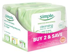 Simple Cleansing Facial Wipes, Kind to Skin 25 Count, Twin Pack. Use Simple Cleansing Wipes for 100% clean skin, anytime and anywhere. Removes impurities and tough makeup, including water-proof mascara without any need to rinse your face afterwards. They are enriched with Pro-Vitamin B5, which is known to help restore, soften and smooth skin. Made with skin loving ingredients and triple purified water, our purest possible water, these face wipes provide instant hydration to the skin…