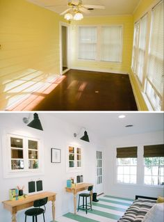 Fixer Upper - The Baby Blue House - Play Area Before/After Fixer Upper, Magnolia Mom, Magnolia Market, Small Sunroom, Decorating Small Spaces, Trendy Bedroom, White Walls, Home Remodeling, Baby Blue