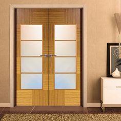 Sanrafael Lisa Glazed Double Door - Model K12V4 Reconstructed Teak Prefinished. #doubledoors #internaldoubledoors #glazeddoors