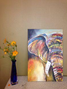 This beautiful painting of an elephant is by Ugandan artist, Davis Muwumba.