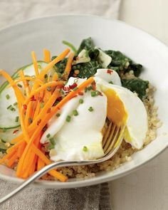 Quinoa with Poached Egg, Spinach, and Cucumber...Detox Cred: Quinoa (an ancient seed) is an excellent source of protein and contains all nine essential amino acids, making it a complete protein, like eggs. Eggs are the best natural source of the nutrient choline and help fight inflammation.