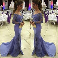 Lilac Long Sleeve Evening Dresses Off the Shoulder Applique Side Split Mermaid Satin Reception Party Guest Women Formal Wear 2017 Prom Gowns Evening Dresses Long Sleeve Prom Dresses Online with 138.0/Piece on Sweet-life's Store | DHgate.com