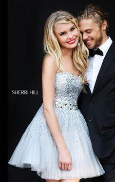 2015 White Bodice Jeweled Sherri Hill 2787 Tulle Short Prom Dress