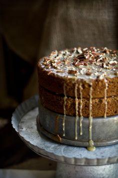 Hazelnut Buttermilk Cake with a Maple Pecan Glaze