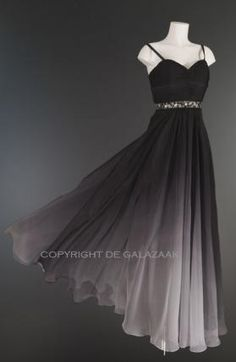 Trendy jurk met ombre kleurverloop van zwart naar wit 1452