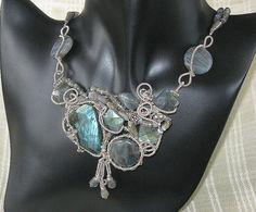 Labradorite showpiece sterling wirewrapped necklace by JMWambolt2, $190.00