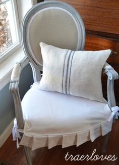French Chair Makeover & pillow with antique french linen