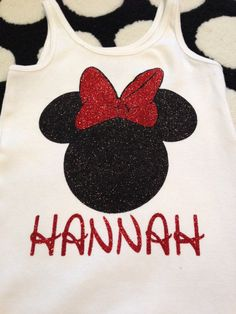 Disney Shirt Idea!!!  Personalized Minnie Mouse Glitter IronOn transfer by BananaBelle23, $10.00