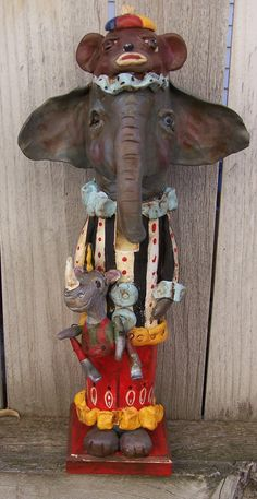 Whimsical Folk Art Circus Carnival Elephant Sock Monkey Rhino NutCracker Nut Cracker Ooak Art Doll. $78.00, via Etsy.