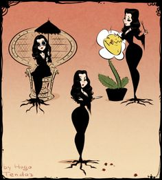 Morticia Addams by Hugo Tendaz Gomez And Morticia, Morticia Addams Makeup, Addams Family Morticia, Dibujos Pin Up, Character Art, Character Design, Drawn Art, Illustration Art, Illustrations